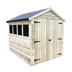 7FT x 6FT PREMIER PRESSURE TREATED TONGUE & GROOVE APEX SHED WITH 3 WINDOWS + HIGHER EAVES & RIDGE HEIGHT + DOUBLE DOORS + SAFETY TOUGHENED GLASS