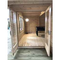 INSTALLED 6m x 5m Premier Home Office Apex Log Cabin (Single Glazing) - Free Floor & Felt (44mm) (Showsite) - INSTALLATION INCLUDED