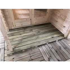 INSTALLED 4.8m x 5.7m Premier Home Office Apex Log Cabin (Single Glazing) - Free Floor & Felt (34mm) - INSTALLATION INCLUDED