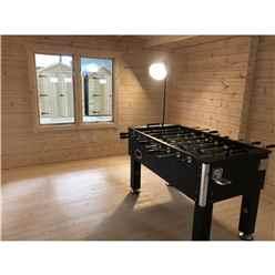 INSTALLED 4.8m x 5.7m Premier Home Office Apex Log Cabin (Single Glazing) - Free Floor & Felt (70mm) - INSTALLATION INCLUDED