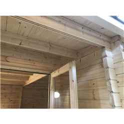 INSTALLED 5m x 5.7m Premier Home Office Apex Log Cabin (Single Glazing) - Free Floor & Felt (44mm) - INSTALLATION INCLUDED