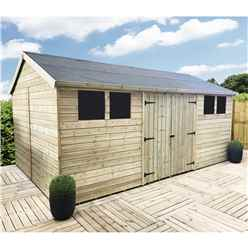 24FT x 12FT REVERSE PREMIER PRESSURE TREATED T&G APEX WORKSHOP + 8 WINDOWS + HIGHER EAVES & RIDGE HEIGHT + DOUBLE DOORS (12mm T&G Walls, Floor & Roof) + SAFETY TOUGHENED GLASS + SUPER STRENGTH FRAMING