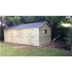 20FT x 10FT REVERSE Premier Pressure Treated T&G Apex Workshop With Higher Eaves And Ridge Height 4 Windows And Double Doors + Internal Wall + Extra Single Door + SUPER STRENGTH FRAMING