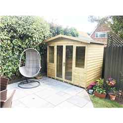 10ft x 7ft Pressure Treated Tongue & Groove Apex Summerhouse with Higher Eaves and Ridge Height + Overhang + Toughened Safety Glass + Euro Lock with Key + SUPER STRENGTH FRAMING