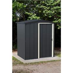 OOS - BACK W/C 31ST MAY 2021 - 5ft x 4ft Value Apex Metal Shed - Anthracite Grey (1.62m x 1.22m)