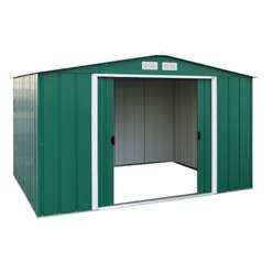 OOS - BACK W/C 31ST MAY 2021 - 10ft x 8ft Value Apex Metal Shed - Green (3.22m x 2.42m)