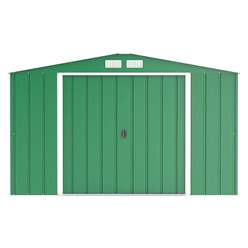 OOS - AWAITING RETURN TO STOCK DATE - 10ft x 10ft Value Apex Metal Shed - Green (3.22m x 3.02m)