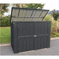 OOS - BACK NOVEMBER 2021 - 5ft x 3ft Premier EasyFix – Pent – Double Bin Store -Anthracite Grey (1.74m x 1.01m)