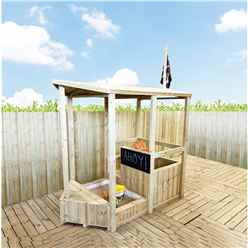 6FT x 3FT Pirate Ship and Sandpit Playhouse (includes Ship Steering Wheel, Chalk Board, 2 Bags of Sand and Pirate Flag)