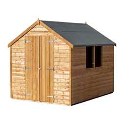 **FLASH REDUCTION** 8ft x 6ft  (2.39m x 1.83m) - Super Value Overlap - Apex Wooden Garden Shed - 2 Windows - Double Doors - 10mm Solid OSB Floor - CORE