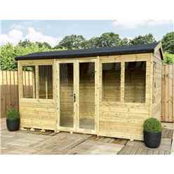 9ft x 8ft REVERSE Pressure Treated Tongue & Groove Apex Summerhouse with Higher Eaves and Ridge Height + Toughened Safety Glass + Euro Lock with Key + SUPER STRENGTH FRAMING