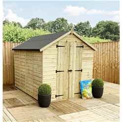 8FT x 6FT **Flash Reduction** Super Saver Pressure Treated Tongue & Groove Apex Shed + Double Doors + Low Eaves + 2 Windows