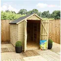 11FT x 5FT **Flash Reduction** Super Saver Windowless Pressure Treated Tongue & Groove Apex Shed + Double Doors + Low Eaves