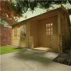 14ft x 10ft Amber 44mm Log Cabin (19mm Tongue and Groove Floor and Roof) (4150x2950)