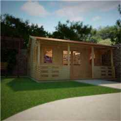 20ft x 16ft Leo 44mm Log Cabin (19mm Tongue and Groove Floor and Roof) (5950x4750)