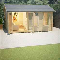 20ft x 12ft Ralph 44mm Log Cabin (19mm Tongue and Groove Floor and Roof) (5950x3550)