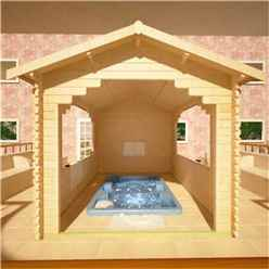 12ft x 10ft Garden Shelter (44mm Log Thickness) (3550x2950)