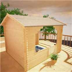 12ft x 12ft Garden Shelter (44mm Log Thickness) (3550x3550)