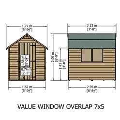 ** FLASH REDUCTION** 7ft x 5ft  (2.05m x 1.62m) - Super Value Overlap - Apex Wooden Garden Shed - 2 Windows - Single Door - 10mm Solid OSB Floor