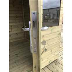 7ft x 7ft Pressure Treated Tongue & Groove Apex Summerhouse with Higher Eaves and Ridge Height + Overhang + Toughened Safety Glass + Euro Lock with Key + SUPER STRENGTH FRAMING