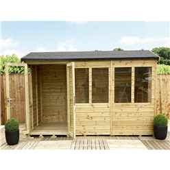 8ft x 11ft REVERSE Pressure Treated Tongue & Groove Apex Summerhouse with Higher Eaves and Ridge Height + Toughened Safety Glass + Euro Lock with Key + SUPER STRENGTH FRAMING