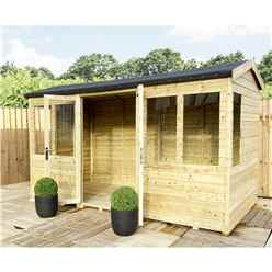 8ft x 12ft REVERSE Pressure Treated Tongue & Groove Apex Summerhouse with Higher Eaves and Ridge Height + Toughened Safety Glass + Euro Lock with Key + SUPER STRENGTH FRAMING