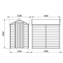 6ft x 4ft (1.8m x 1.3m) Pressure Treated Windowless Overlap Apex Shed with Single Door - Modular (CORE)
