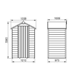 3ft x 4ft (0.9m x 1.3m) Windowless Overlap Apex Shed With Single Door - Modular - CORE