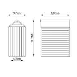 5ft x 3ft (1.6m x 1m) Windowless Overlap Apex Shed With Single Door - Modular - CORE - * Door is on the 3ft Side