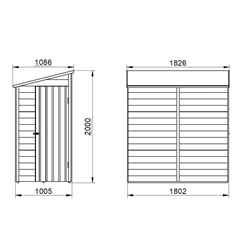 6ft x 3ft (1.8m x 1.1m) Windowless Pressure Treated Overlap Pent Shed With Single Side Door - Modular - CORE
