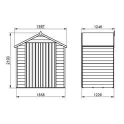 4ft x 6ft (1.3m x 1.8m) Overlap Apex Security Shed With Double Doors - Windowless - Modular - *Double Doors are on the 6ft Side