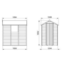 INSTALLED 6ft x 4ft (1.8m x 1.3m)  Pressure Treated Overlap Apex Wooden Garden Shed with Single Door and 1 Window - Modular - INSTALLATION INCLUDED (CORE)