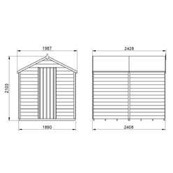 INSTALLED 8ft x 6ft (2.4m x 1.9m) Pressure Treated Windowless Overlap Apex Wooden Garden Shed With Single Door - Modular - INSTALLATION INCLUDED (CORE)