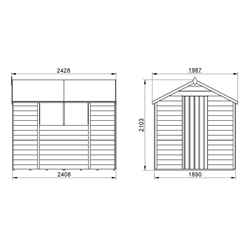 8ft x 6ft (2.4m x 1.9m) Pressure Treated Overlap Apex Wooden Garden Shed with Single Door and 2 Windows - Modular (CORE)