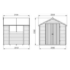 INSTALLED 7ft x 7ft (2.2m x 2.1m) Pressure Treated Overlap Apex Wooden Garden Shed With Double Doors and 2 Windows - Modular - INSTALLATION INCLUDED