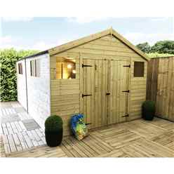 18FT x 8FT PREMIER PRESSURE TREATED T&G APEX WORKSHOP + 6 WINDOWS + HIGHER EAVES & RIDGE HEIGHT + DOUBLE DOORS (12mm T&G Walls, Floor & Roof) + SAFETY TOUGHENED GLASS + SUPER STRENGTH FRAMING