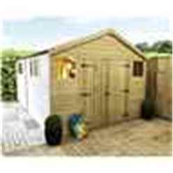 28FT x 8FT PREMIER PRESSURE TREATED T&G APEX WORKSHOP + 8 WINDOWS + HIGHER EAVES & RIDGE HEIGHT + DOUBLE DOORS (12mm T&G Walls, Floor & Roof) + SAFETY TOUGHENED GLASS + SUPER STRENGTH FRAMING