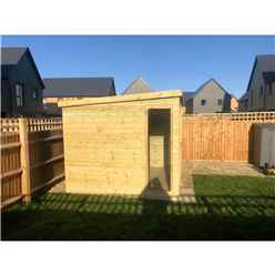11ft x 5ft COMBI Pressure Treated Tongue & Groove Pent Summerhouse with Higher Eaves and Ridge Height + Side Shed + Toughened Safety Glass + Euro Lock with Key + SUPER STRENGTH FRAMING