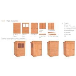 4ft x 4ft Tongue and Groove Pent Shed with Double Doors (12mm Tongue and Groove Floor and Roof)
