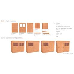 8ft x 4ft Tongue and Groove Pent Shed with Double Doors (12mm Tongue and Groove Floor and Roof)