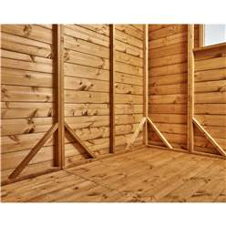 16ft x 4ft Security Tongue and Groove Pent Shed - Single Door - 8 Windows - 12mm Tongue and Groove Floor and Roof