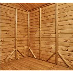 16ft x 6ft Security Tongue and Groove Pent Shed - Double Doors - 8 Windows - 12mm Tongue and Groove Floor and Roof