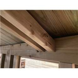 24FT x 12FT WINDOWLESS PREMIER PRESSURE TREATED TONGUE & GROOVE APEX WORKSHOP + HIGHER EAVES & RIDGE HEIGHT + DOUBLE DOORS (12mm Tongue & Groove Walls, Floor & Roof) + SUPER STRENGTH FRAMING