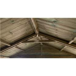 24FT x 13FT WINDOWLESS PREMIER PRESSURE TREATED TONGUE & GROOVE APEX WORKSHOP + HIGHER EAVES & RIDGE HEIGHT + DOUBLE DOORS (12mm Tongue & Groove Walls, Floor & Roof) + SUPER STRENGTH FRAMING