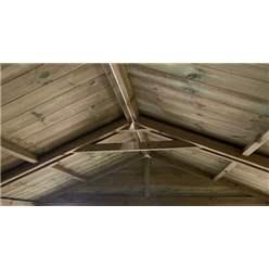 24FT x 11FT WINDOWLESS REVERSE PREMIER PRESSURE TREATED TONGUE & GROOVE APEX WORKSHOP + HIGHER EAVES & RIDGE HEIGHT + DOUBLE DOORS (12mm Tongue & Groove Walls, Floor & Roof) + SUPER STRENGTH FRAMING
