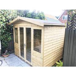10ft x 6ft Pressure Treated Tongue & Groove Apex Summerhouse - LONG WINDOWS - with Higher Eaves and Ridge Height + Overhang + Toughened Safety Glass + Euro Lock with Key + SUPER STRENGTH FRAMING