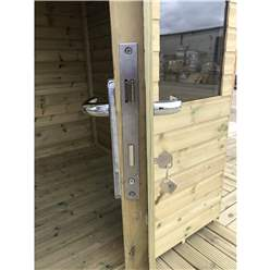 10ft x 7ft Pressure Treated Tongue & Groove Apex Summerhouse - LONG WINDOWS - with Higher Eaves and Ridge Height + Overhang + Toughened Safety Glass + Euro Lock with Key + SUPER STRENGTH FRAMING