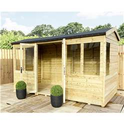 8ft x 7ft REVERSE Pressure Treated Tongue & Groove Apex Summerhouse + LONG WINDOWS with Higher Eaves and Ridge Height + Toughened Safety Glass + Euro Lock with Key + SUPER STRENGTH FRAMING