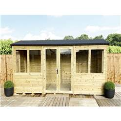 8ft x 8ft REVERSE Pressure Treated Tongue & Groove Apex Summerhouse + LONG WINDOWS with Higher Eaves and Ridge Height + Toughened Safety Glass + Euro Lock with Key + SUPER STRENGTH FRAMING