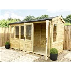 8ft x 9ft REVERSE Pressure Treated Tongue & Groove Apex Summerhouse + LONG WINDOWS with Higher Eaves and Ridge Height + Toughened Safety Glass + Euro Lock with Key + SUPER STRENGTH FRAMING